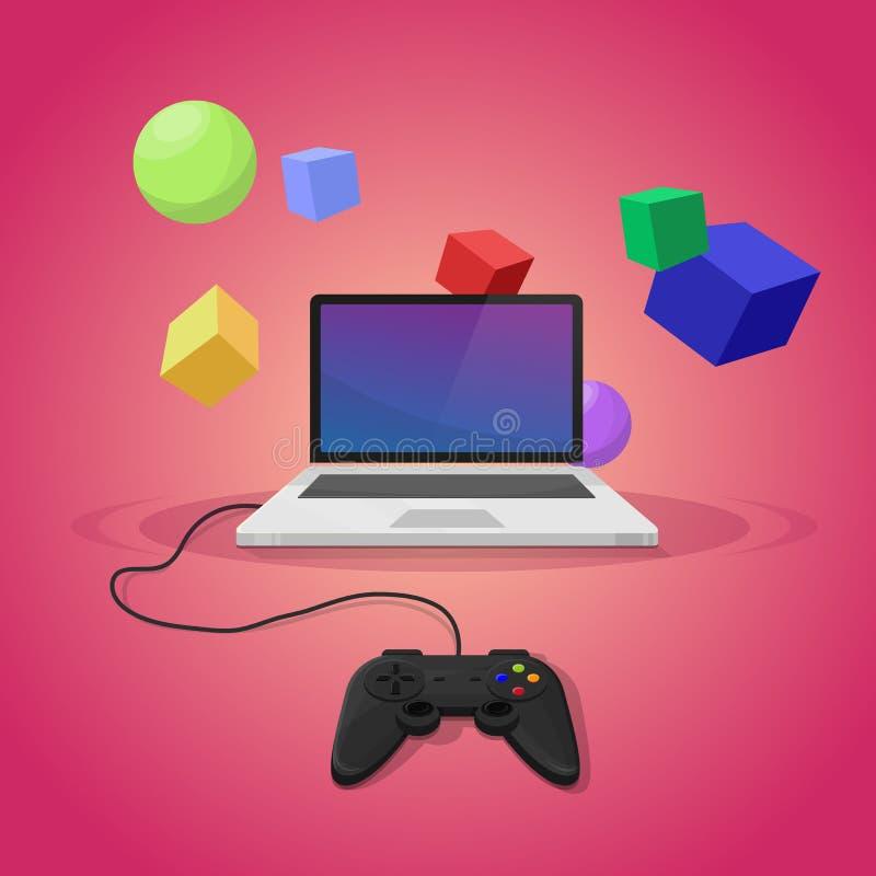 Download Gry komputerowe ilustracja wektor. Ilustracja złożonej z joysticki - 57652817