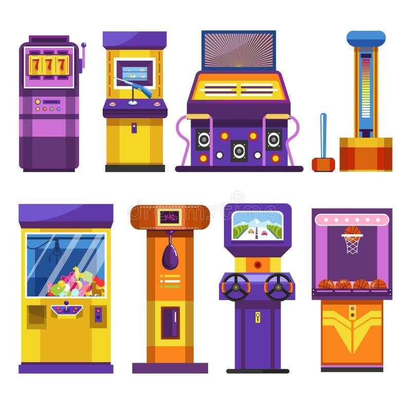 Gry lub automatów do gier przyciągania parka przyrząda odizolowywali przedmioty royalty ilustracja