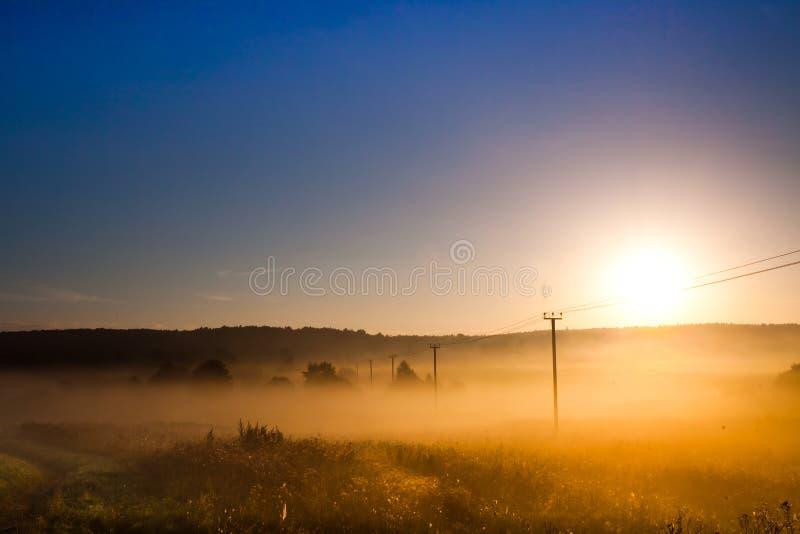Gry, morgonsollöneförhöjningarna över fältet och makttransmissioen royaltyfria foton