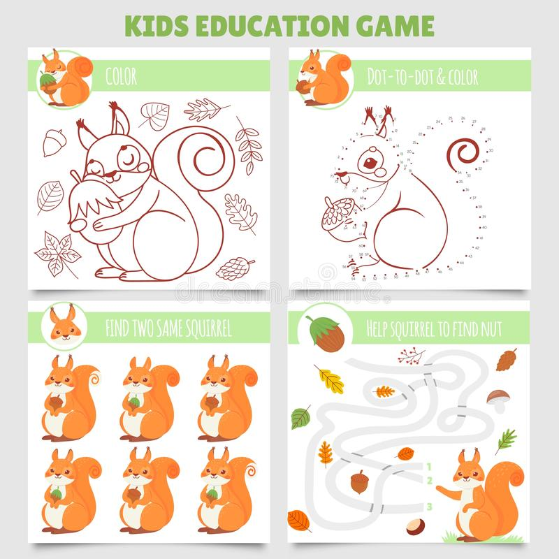 Gry na platformę Cartoon squirel kids Znajdź dwa takie same zdjęcia, wiewiórkę i orzech, kolorowanki i kropki do kropki wektor royalty ilustracja