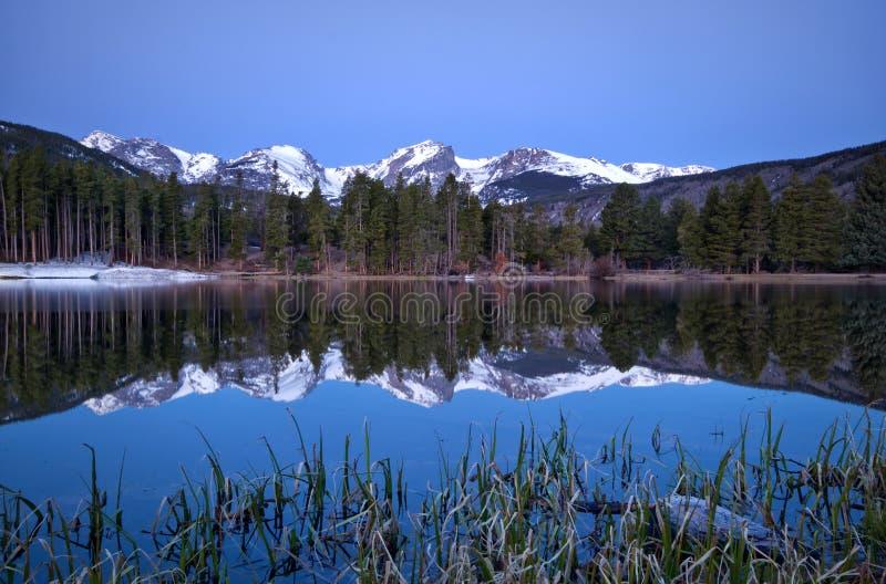 Gry Pre bilden av den kontinentala skiljelinjen och en Sprague Lake refl royaltyfri bild