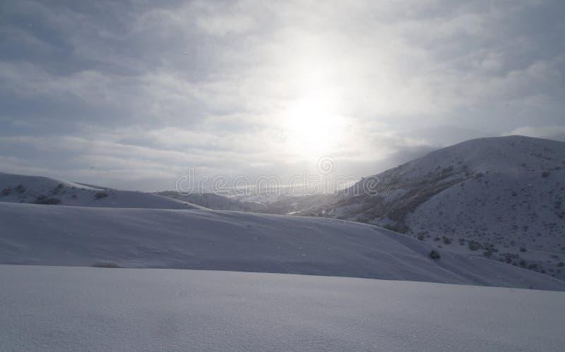 Gry solen i de snöig bergen av Kasakhstan royaltyfri foto