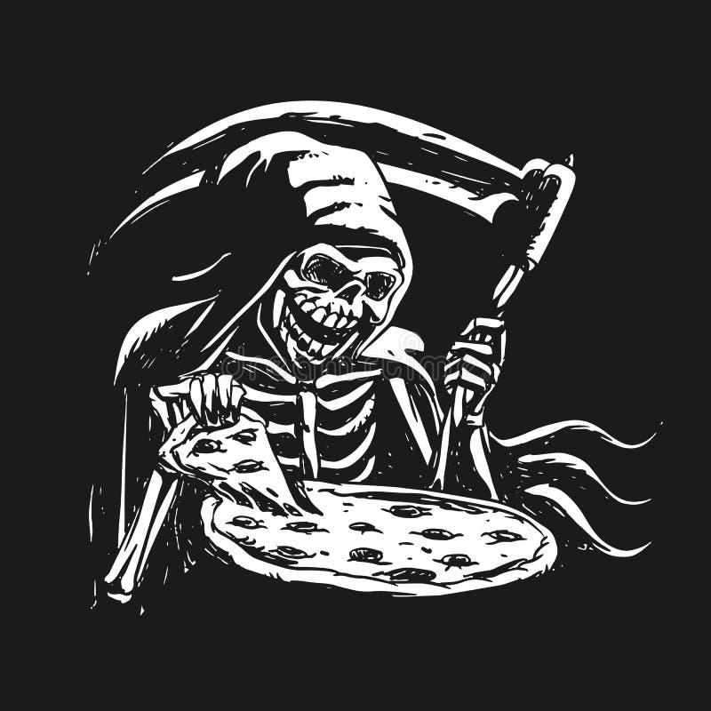 Grym skördemaskin som äter svartvit pizza - royaltyfri illustrationer
