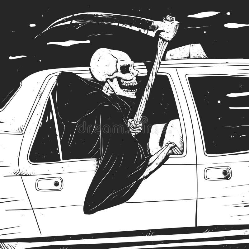 Grym - svartvitt - gotisk skördemaskin för passageraretaxi stock illustrationer