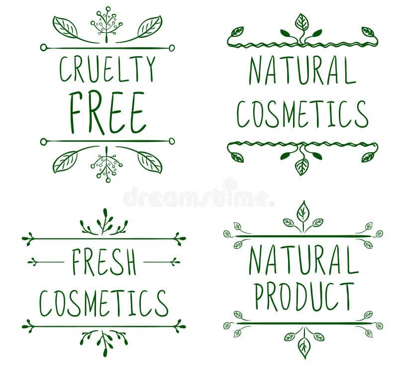 Grymhet frigör, naturliga skönhetsmedel, naturprodukten, nya skönhetsmedel Krusidullkaraktärsteckningar och handskrivna bokstäver vektor illustrationer