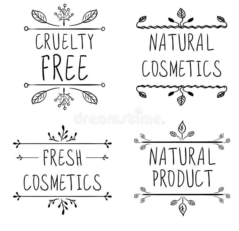 Grymhet frigör, naturliga skönhetsmedel, naturprodukten, nya skönhetsmedel Krusidullkaraktärsteckningar och handskrivna bokstäver stock illustrationer