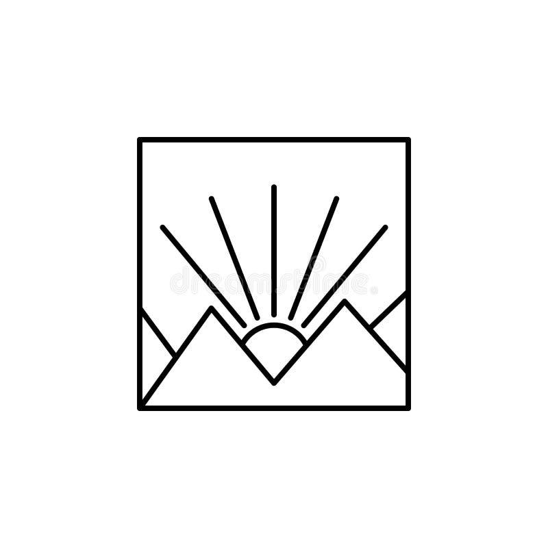 gryningöversiktssymbol Beståndsdel av landskapöversiktssymbolen för mobila begrepps- och rengöringsdukapps Den tunna linjen symbo stock illustrationer