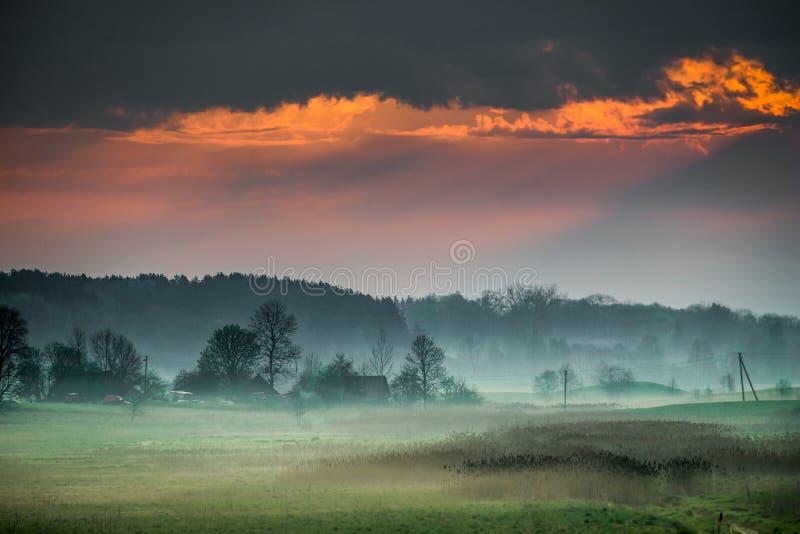Gryning på det dimmiga lantliga landskapet royaltyfri bild