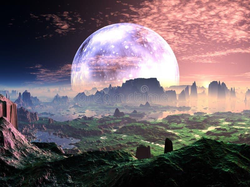 Gryning på det idylliska Jord-något liknande planet royaltyfri illustrationer