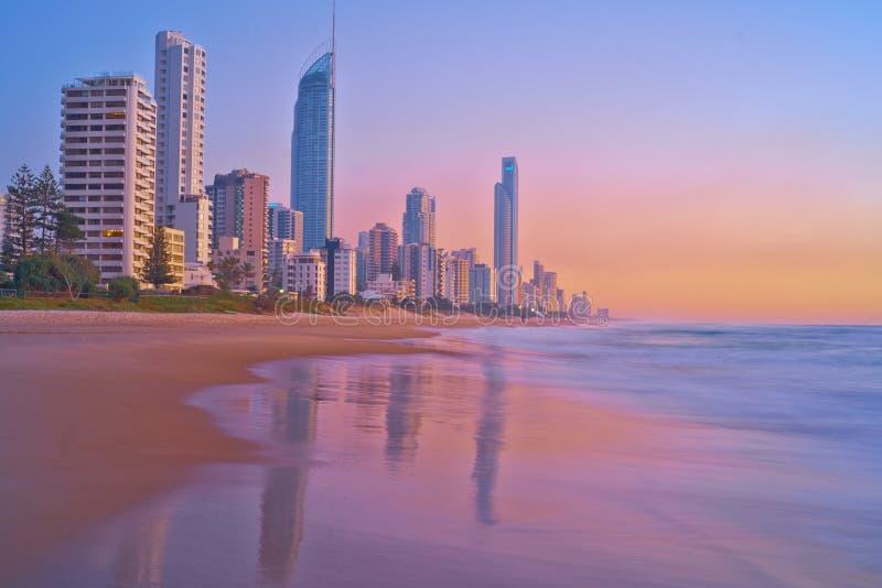 Gryning på Gold Coast - landskap arkivfoton