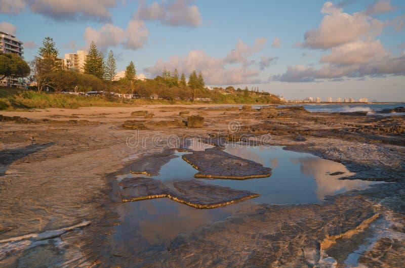 Gryning på solskenkusten Mooloolaba fotografering för bildbyråer