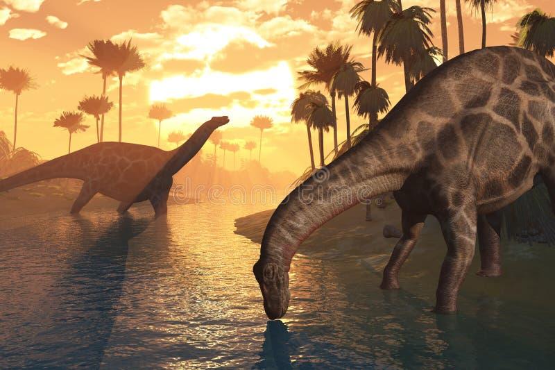 gryningdinosaurstid royaltyfri illustrationer