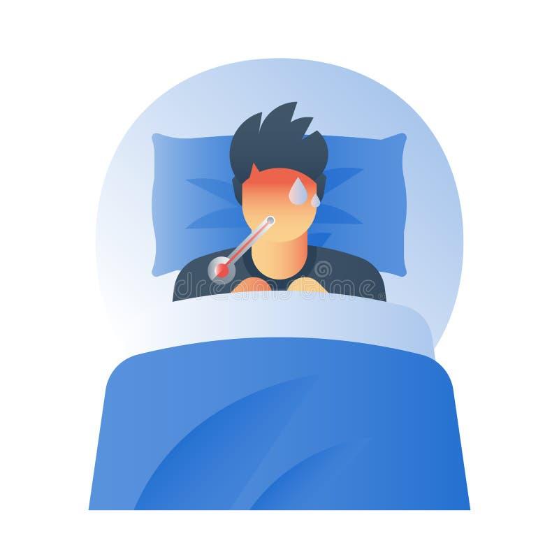 Grypa objawy, gorączkowy pojęcie, wysokotemperaturowy termometr, chora pocenie osoba, łapią zimno, płomienica wirus, czuciowa bol royalty ilustracja