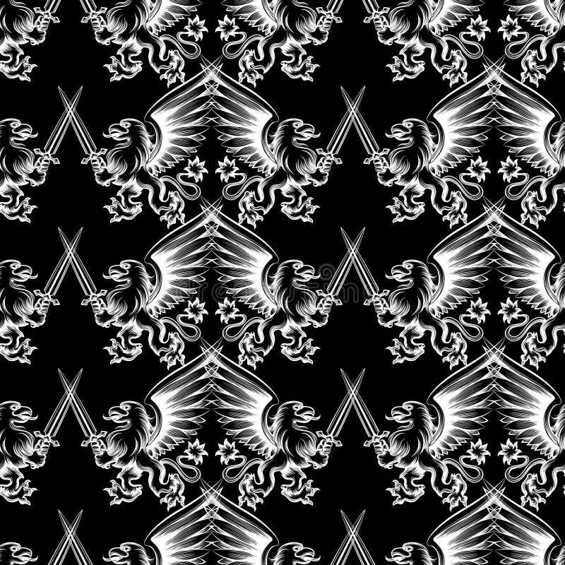Gryphon héraldique de modèle sans couture illustration stock