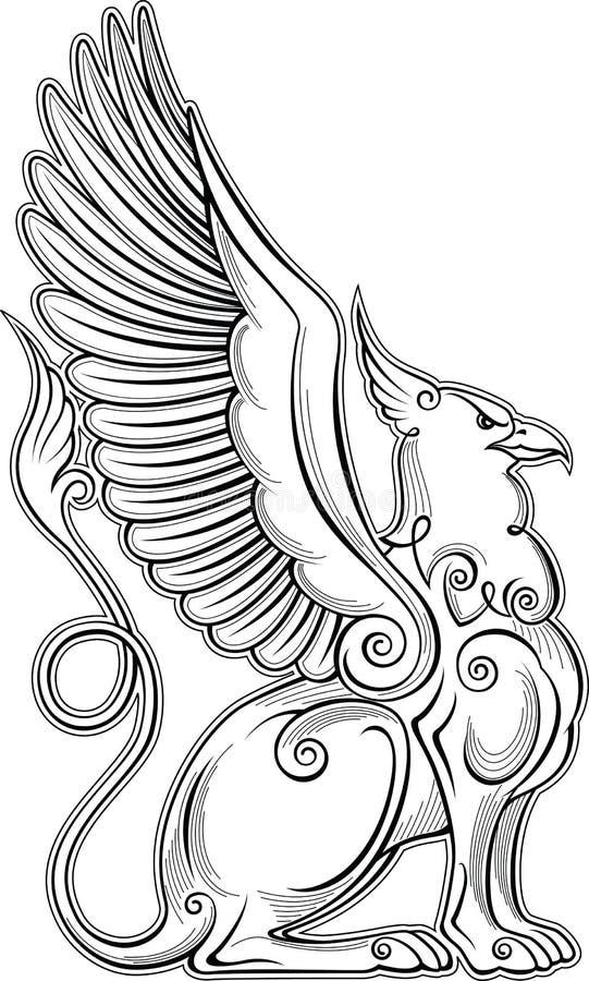 Gryphon mitycznej istoty siły i władzy symbolu orła głowy lwa ciała ptak uskrzydla heraldycznego emblemat ilustracji