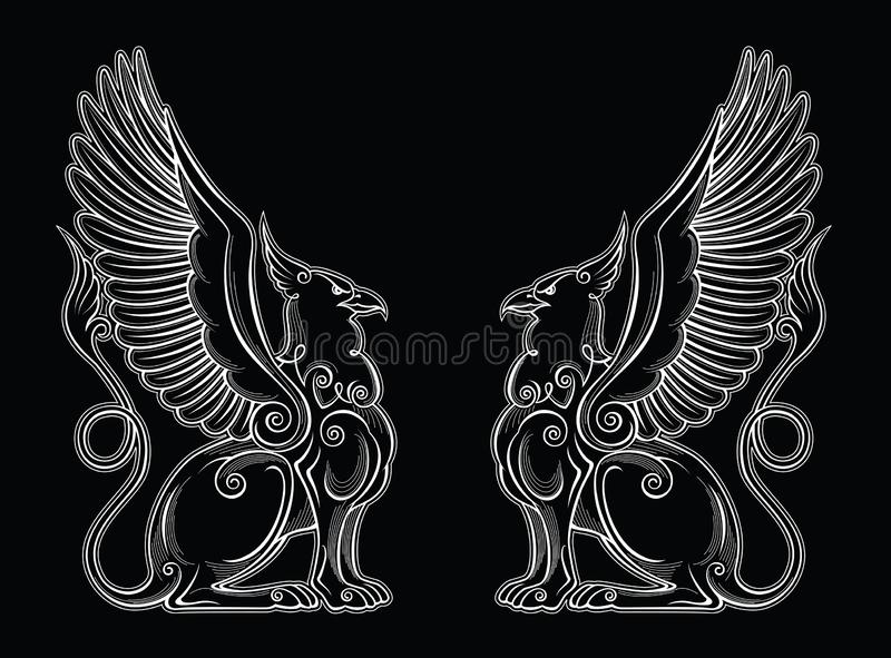 Gryphon mythical creature power and strength symbol  eagle head lion body bird wings heraldic emblem royalty free stock photo