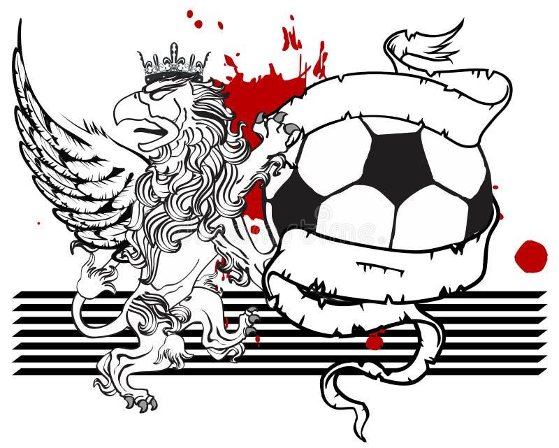 Gryphon piłki nożnej żakiet ręka grzebień ilustracji