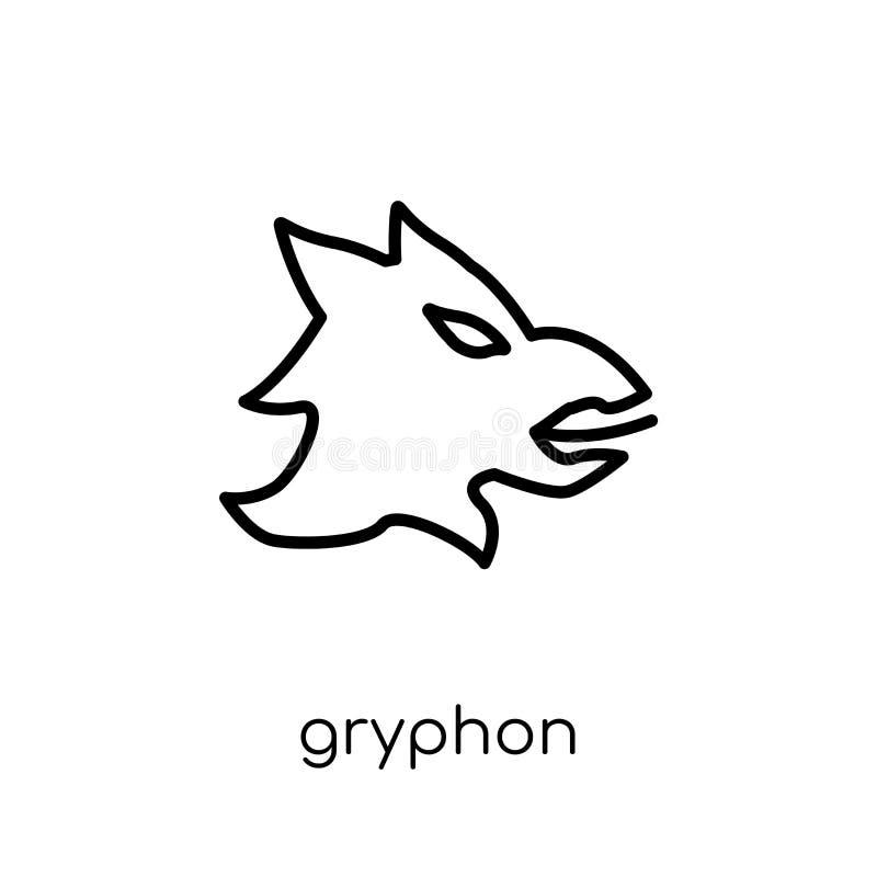 Gryphonpictogram In modern vlak lineair vectorgryphon-pictogram op w vector illustratie