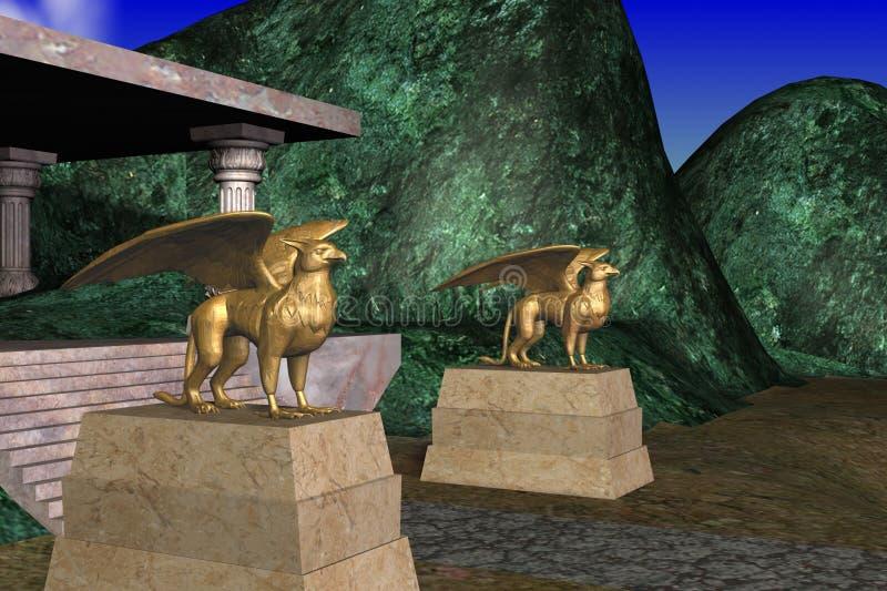 Gryphons雕象 免版税库存照片