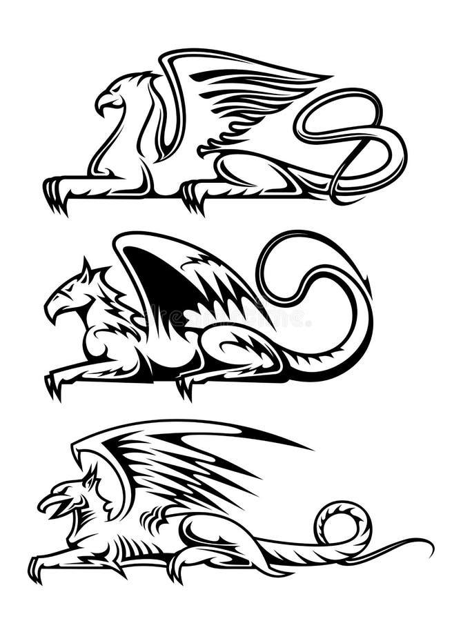 Gryphons medievais ajustados ilustração stock