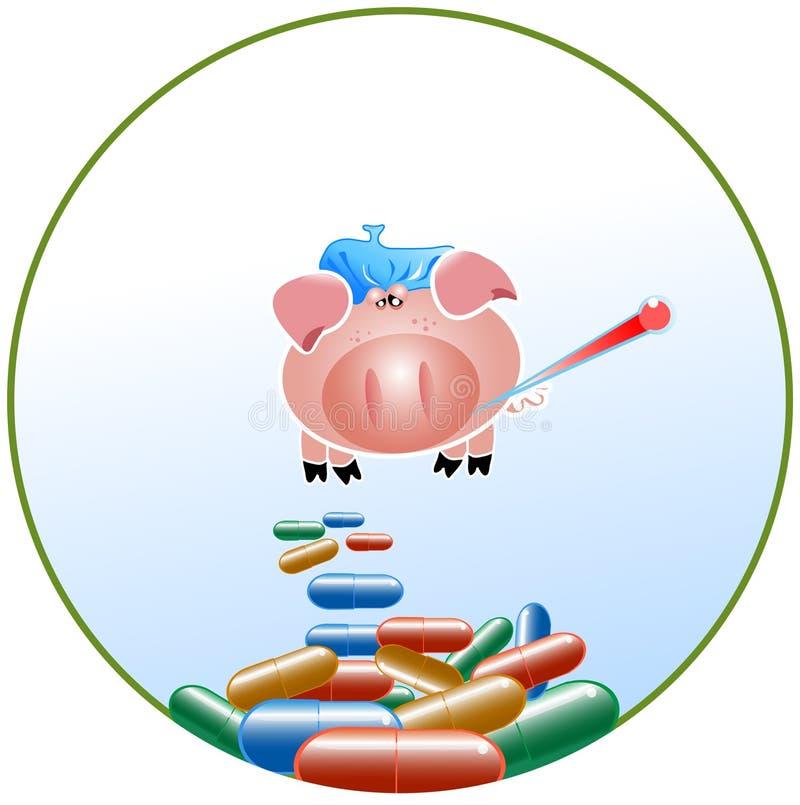grypowa świnia ilustracja wektor