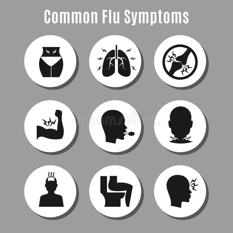 Grypowe grypy choroby objawów ikony ilustracja wektor