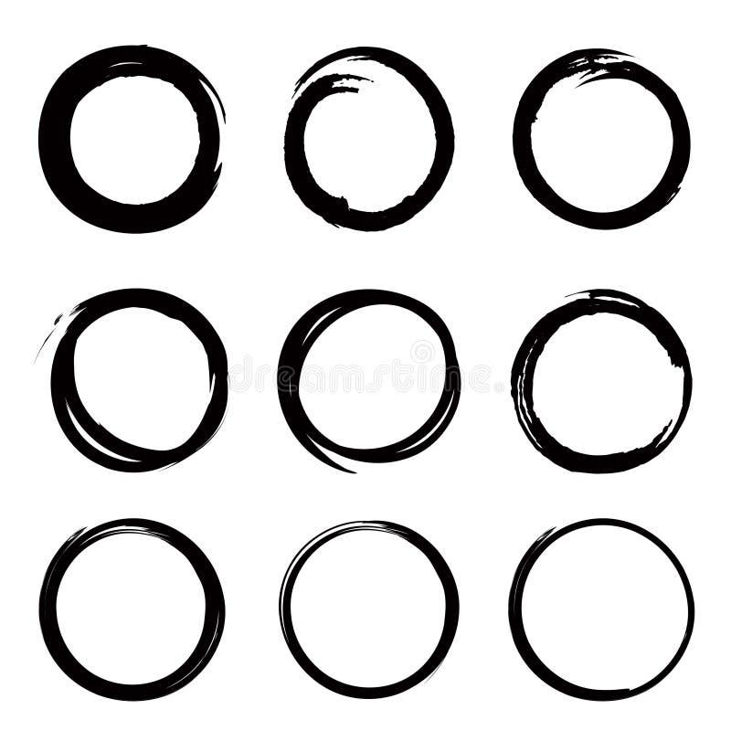 Gryzmoli okręgu set, ręka rysujący geometryczny nakreślenie projekt e ilustracji