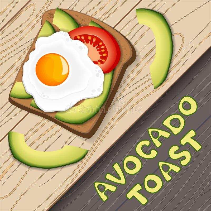 Grzanka z avocado i smażącym jajkiem z plasterkami pomidor na chlebie, dietetyczne jedzenie zdrowe Element dla menu projekta, szt ilustracja wektor