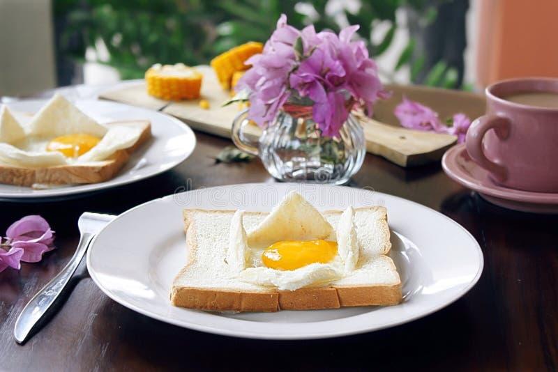 Grzanki z jajkiem obraz stock
