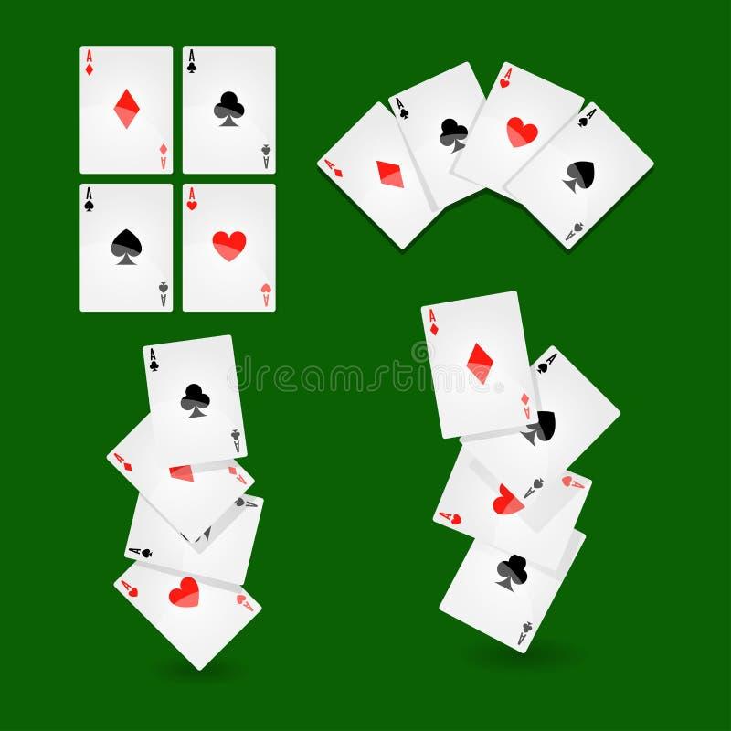 Grzebaków karta do gry dla kasyna lub pasjansu gemowych wektorowych ikon ilustracji