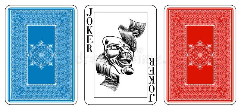 Grzebaka jokeru wielkościowy karta do gry plus odwrotność ilustracja wektor