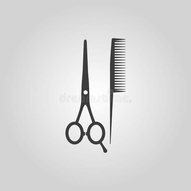 Grzebieniowa ikona i nożyce Zakładu fryzjerskiego symbol mieszkanie ilustracja wektor