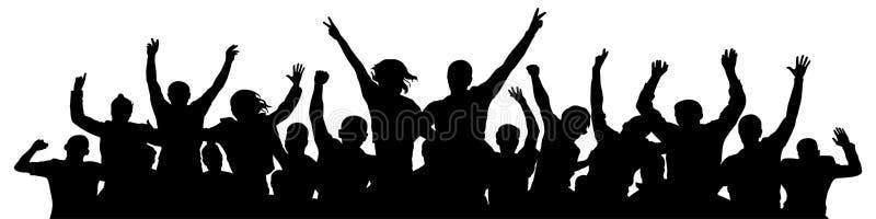 Grzech tłumu Ludzie świętują sylwetkę Ludzie na koncercie dyskotekowym ilustracji