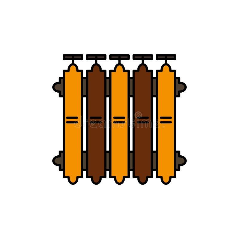 Grzejnik, ogrzewanie, bateria, Ciepła, upału koloru Płaska ikona Wektorowy ikona sztandaru szablon ilustracji