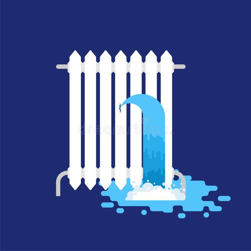 Grzejnika wodny przeciek Wodny przeciek łamany grzejnik royalty ilustracja