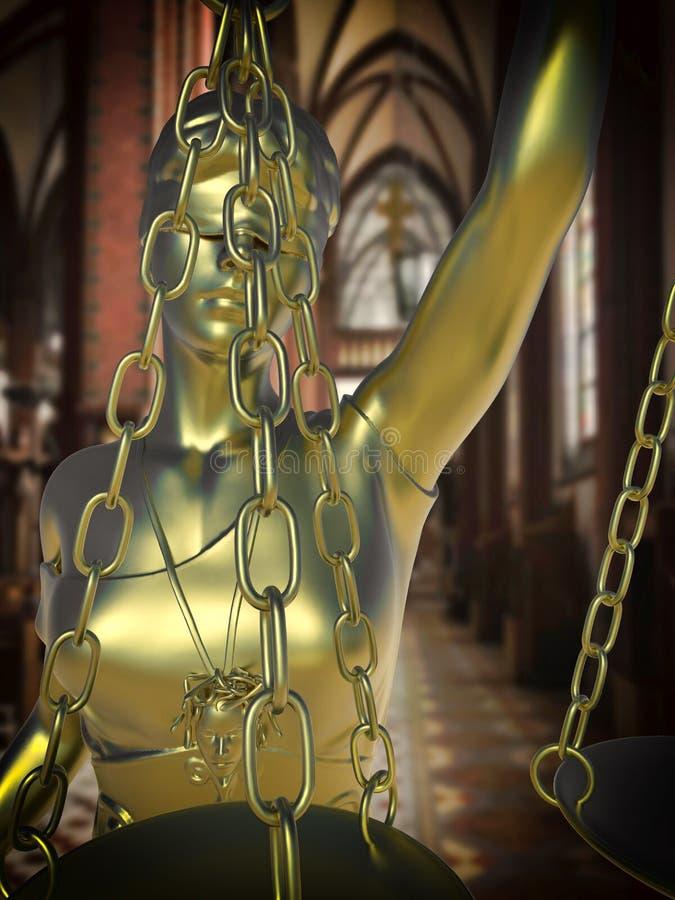 Grzeszny kościelny konceptualny pomysł z damą sprawiedliwość royalty ilustracja