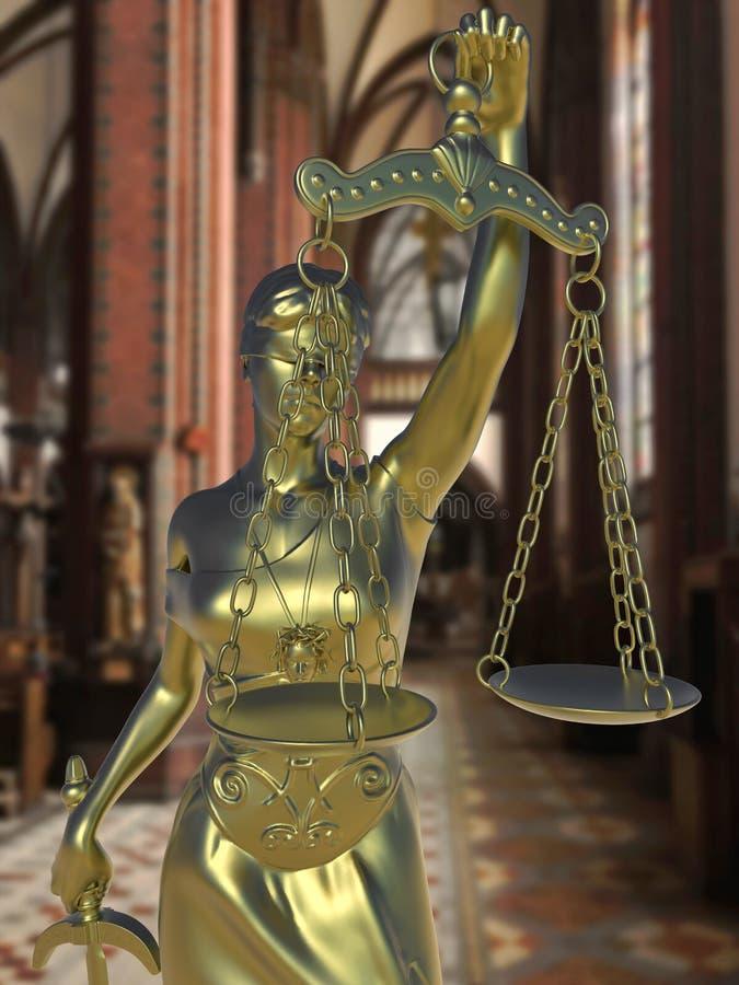 Grzeszny kościelny konceptualny pomysł z damą sprawiedliwość ilustracji