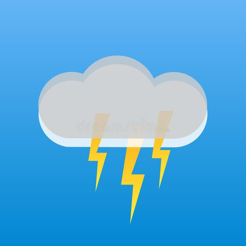 grzmot burza w popielatym chmury niebieskim niebie ilustracja wektor