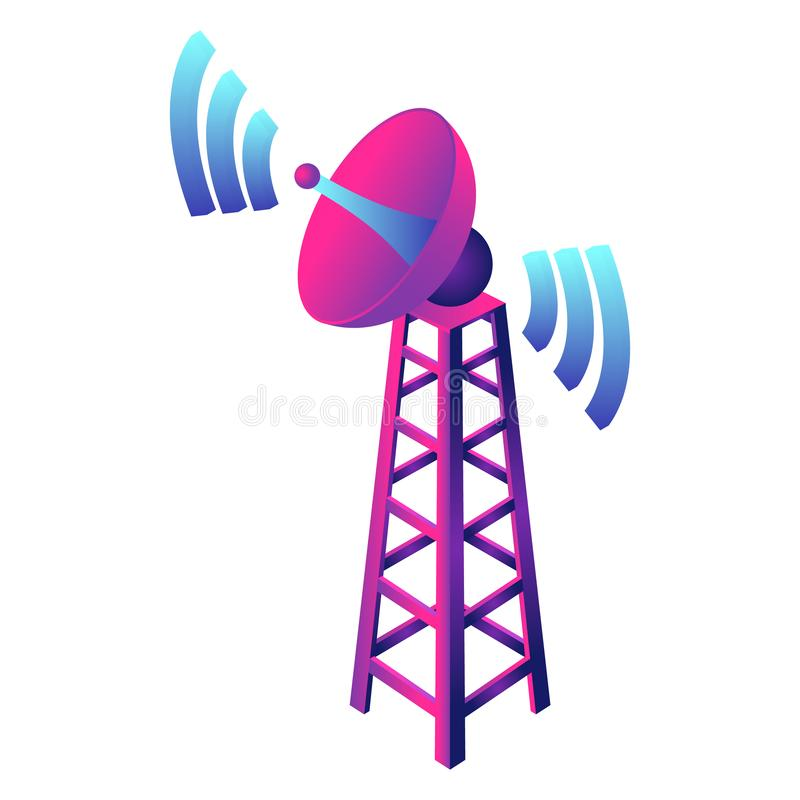 Gsm smart tower icon, isometric style stock illustration