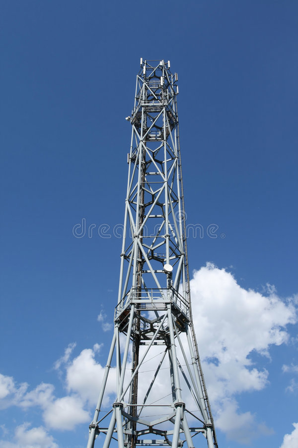 GSM technology. GSM telecommunication tower. Antennae on a steel structure royalty free stock image