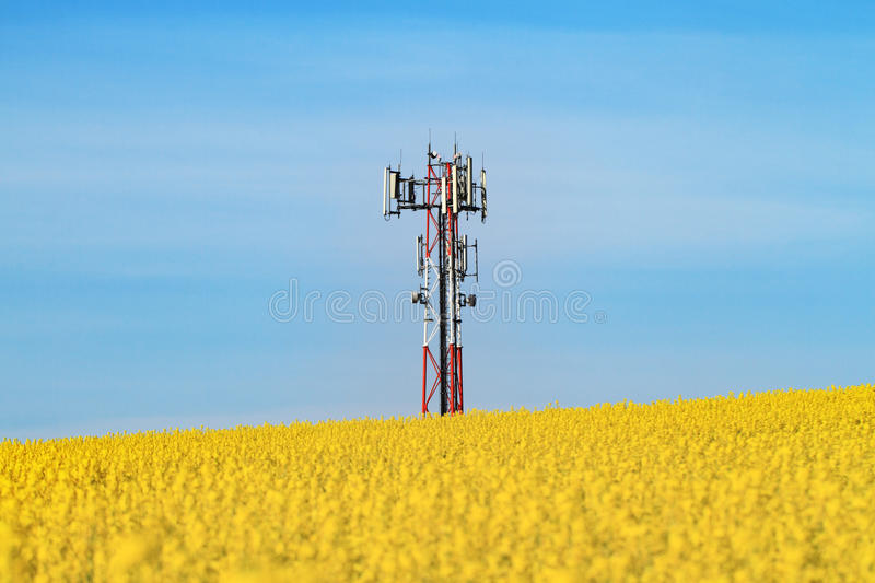 Gsm transmitter. On a blooming field royalty free stock photo