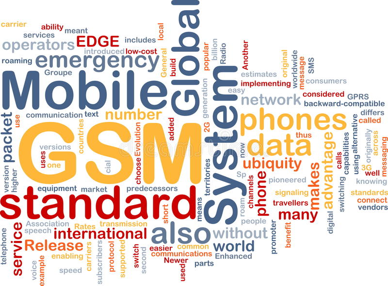 GSM word cloud vector illustration