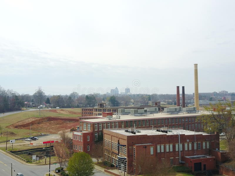 GSO beyond the old mill and warehouses royalty free stock photos