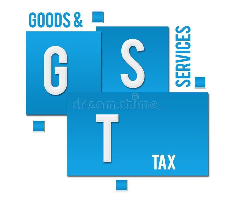 GST - Biens et texte bleu de places d'impôts de services illustration libre de droits