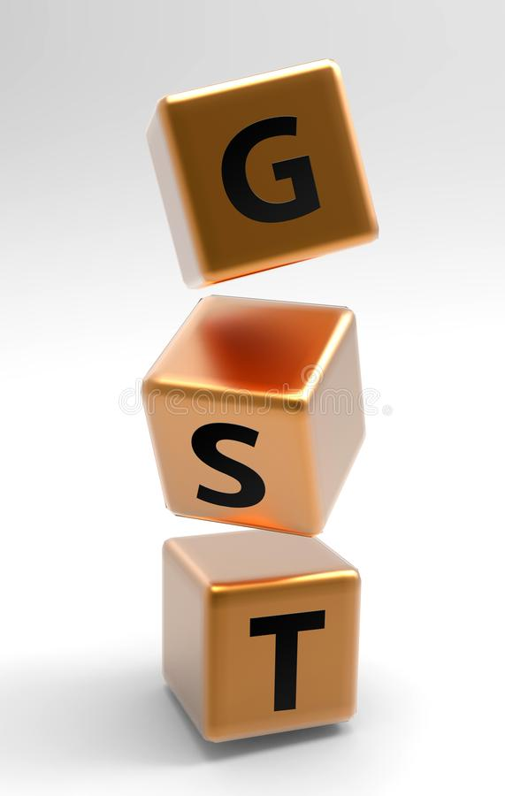 GST 3d cubes in the air. 3d render illustration. royalty free illustration