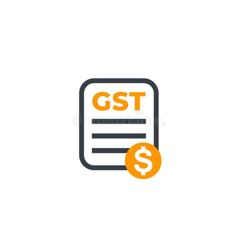 GST, goods and service tax, payroll icon on white stock illustration