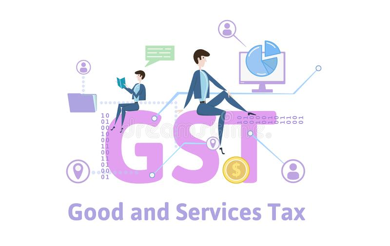 GST, Goods and Services Tax. Concept table with keywords, letters and icons. Colored flat vector illustration on white stock illustration