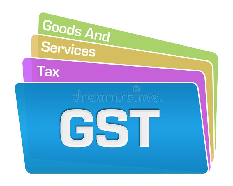 GST - Goods And Services Tax Text Colorful Squares Stack royalty free illustration