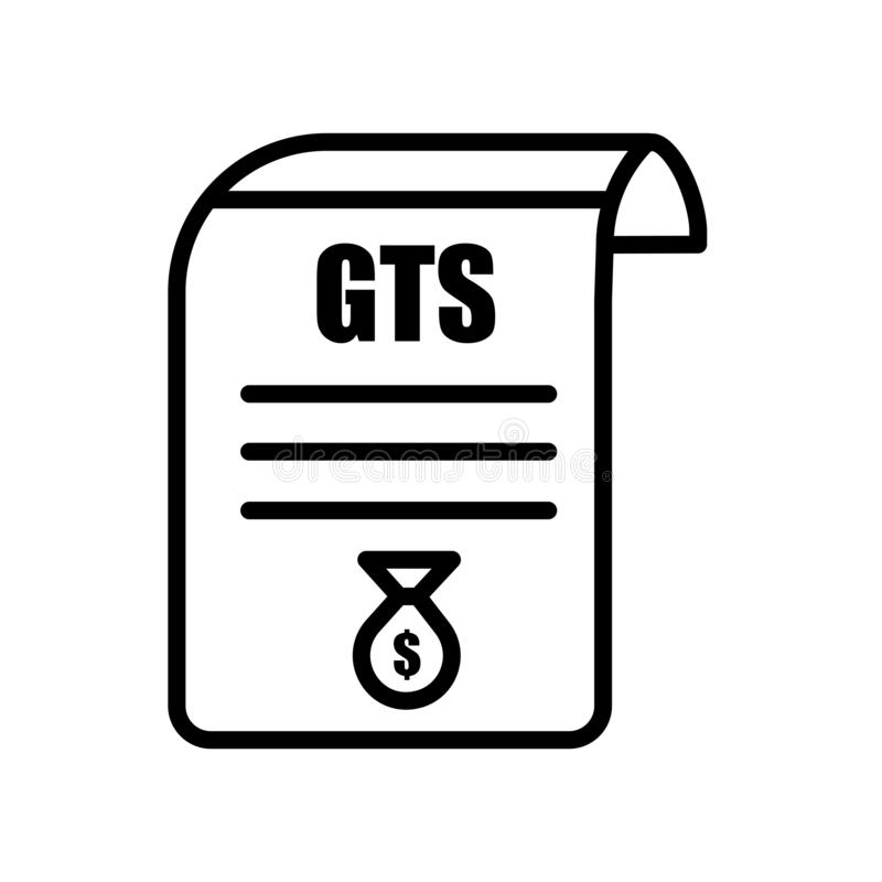 gst icon isolated on white background stock illustration