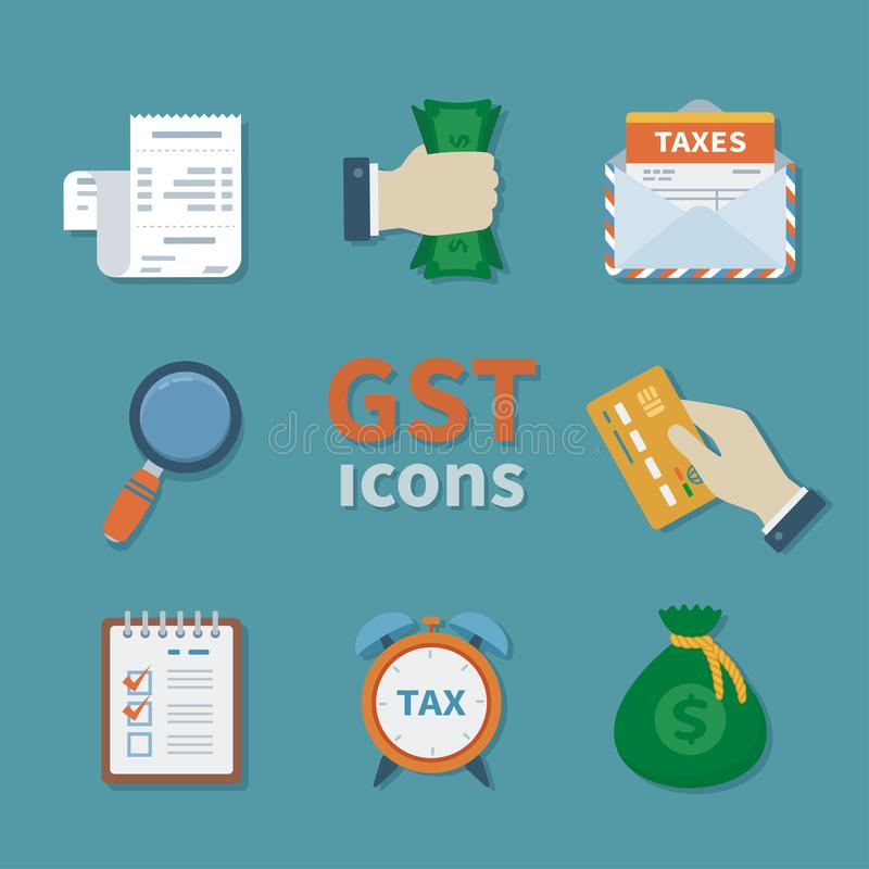 GST icons. Set of Finance flat color icons. Tax payment. Goods and service tax. Clipboard, money, envelope, magnifying glass, royalty free illustration
